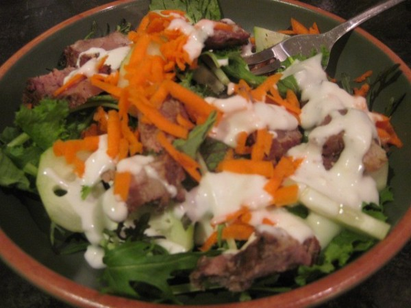 Asian Greens Salad with Sirloin